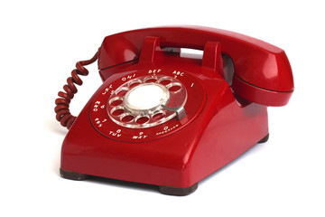 Hot Line Red Rotary Dial Phone