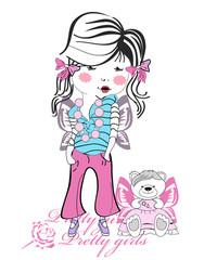 Fashion baby girl with a teddy bear