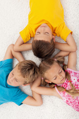 Kids relaxing and meditating