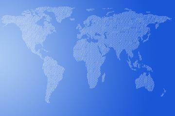 World map of the digital binary code