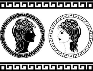 profiles of roman woman. stencil