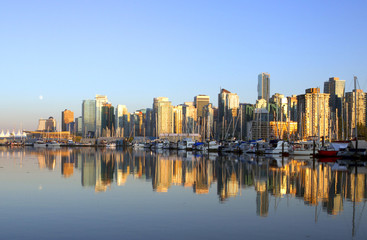 Vancouver downtown cityscape with boats