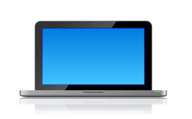 Laptop front view vector: clean copyspace on screen