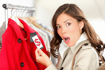 shopping woman shocked over expensive price
