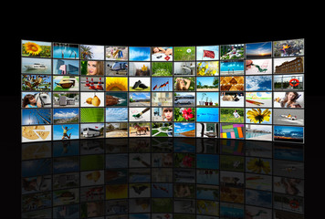 Screens  TV panels. Television production technology concept