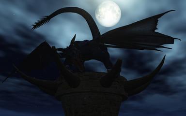 dragon sous la lune