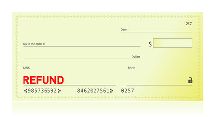 refund check illustration design on white