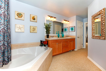 Blue bathroom with large triangle tub