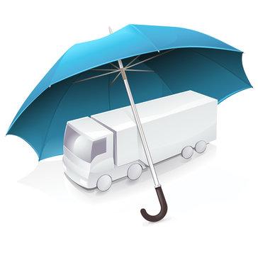 Camion et assurance transport (reflet)