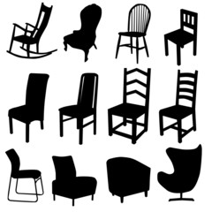 chair art vector illustration in black color two