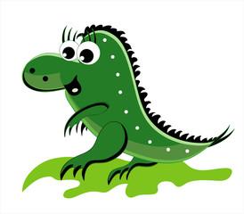 green dragon going on a grass