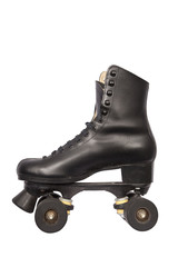 Black roller skate with high heel and little dirt