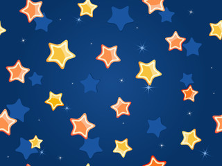 Cartoon stars at blue sky. Vector Pattern