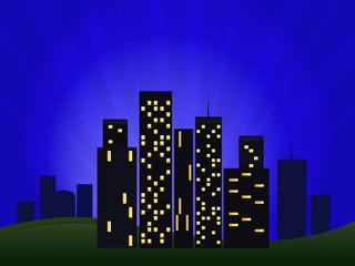 Vector Illustration Of Night Cityscape