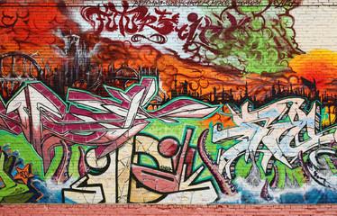 Abstract Interesting graffiti on vandalised wall