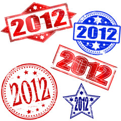 2012 New year rubber stamp illustrations