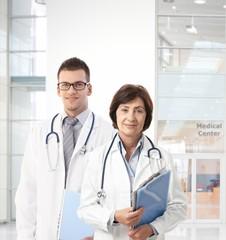 Confident doctors in medical center