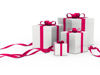 gift box white pink ribbon