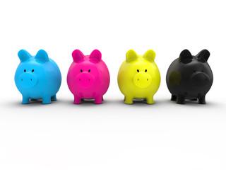 Piggy bank CMYK concept