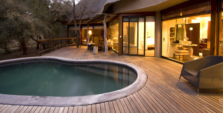Swimming pool on a deck at a safari lodge in South Africa