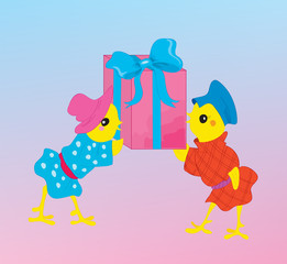 Two chickens with a gift for new year