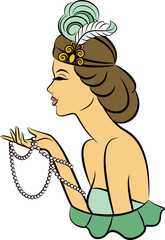 Vintage fashion girl with breads. Vector