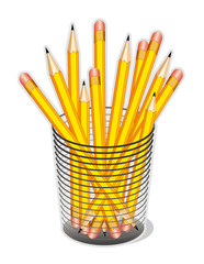 Yellow Pencils in Desk Organizer