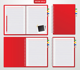 Collection of red notebook. Vector template