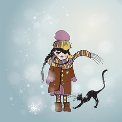 Cute child with cat / Snowy background