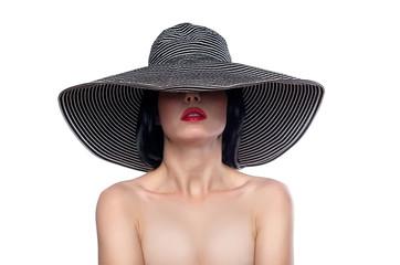 Woman in a wide brim hat