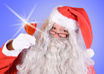 Santa Claus holding a wineglass