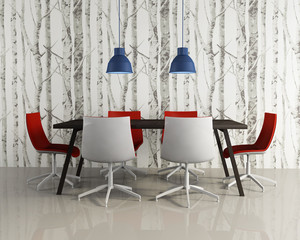 Dining room modern stylish red chairs woods wallpaper