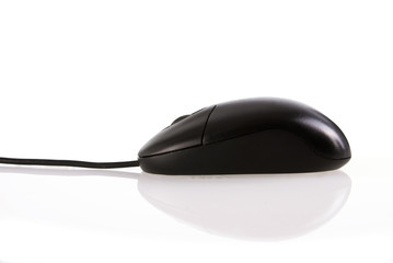Black mouse isolated with clipping path,
