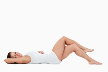 Beautiful woman lying on the floor