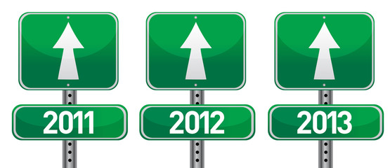happy new years street signs illustration design
