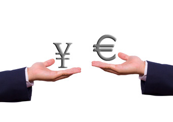 hand exchange euro and yen sign