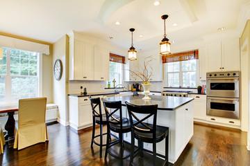 White large luxury modern kitchen wih dark floor