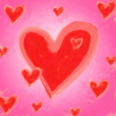 Painted hearts in pink and red
