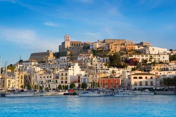Fototapete - Ibiza Eivissa town with blue Mediterranean