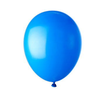 Single blue balloon isolated on white