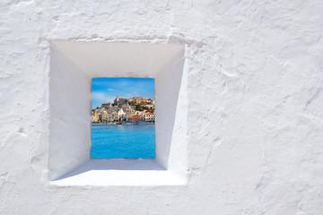 Wall Mural - Ibiza mediterranean white wall window