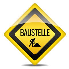 Achtung Warnung Schild Baustelle Bauarbeiter