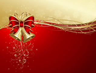 Christmas background with bells and bow