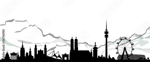 skyline m nchen mit alpen stockfotos und lizenzfreie vektoren auf bild 36786980. Black Bedroom Furniture Sets. Home Design Ideas