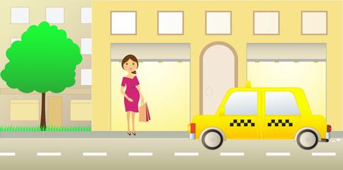 pregnant girl near showcase and taxi car