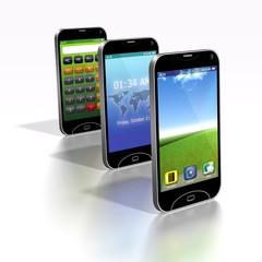 Smartphones in Reihe x3