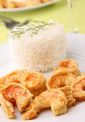 rice and shrimp with curry sauce