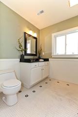 Light green modern bathroom with white ceramic