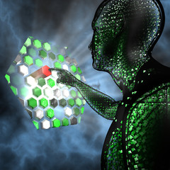 Humanoid touching a futuristic computer panel