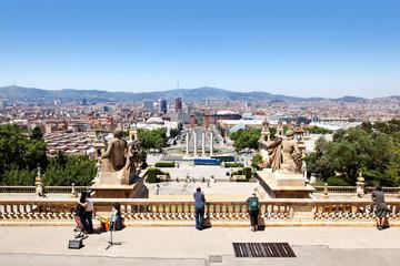 Blick vom Montjuic auf Barcelona, Spanien